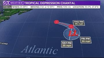 Tropical Depression Chantal spins at sea, away from North America