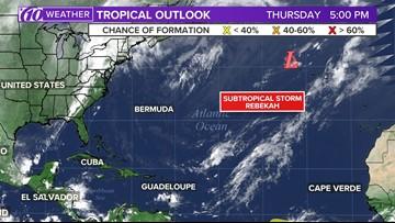 Subtropical Storm Rebekah expected to weaken overnight