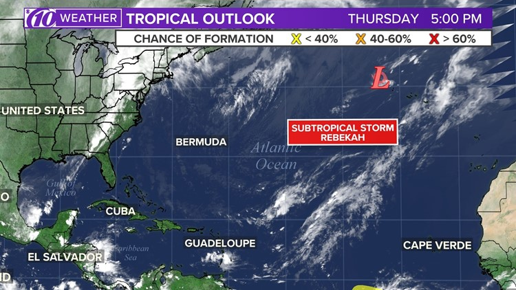 Subtropical Storm Rebekah expected to weaken overnight