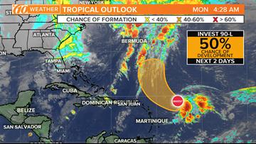 Tropical disturbance sees 50-percent chance of development