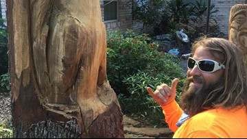 """Budding artist carves squirrels at """"The Nut House"""""""