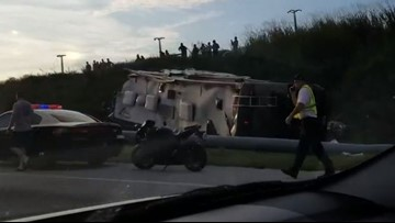 One person dead after RV overturns on I-4 in Polk County