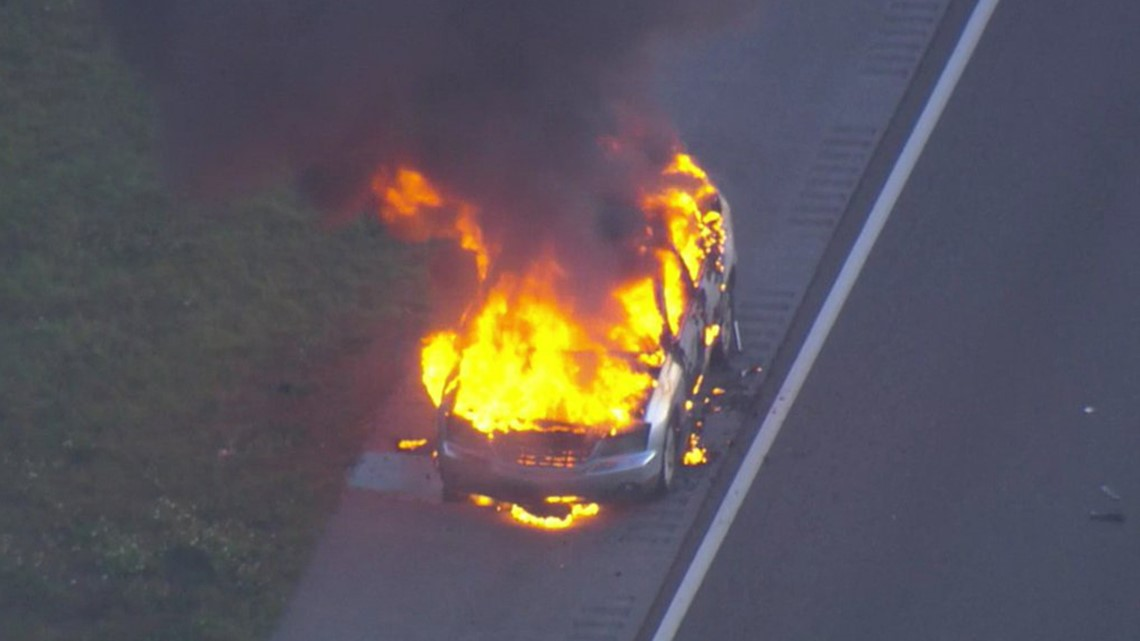 Car catches fire on I-275 near Bearss Avenue in Tampa8