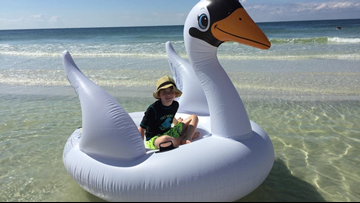Bradenton mom warning others after she and her son drifted into the gulf on inflatable swan
