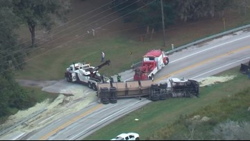 Fertilizer truck overturns on US 98 in Polk County