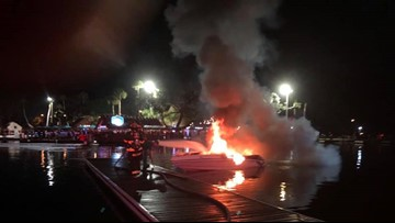 Boat decorated with Christmas lights catches fire in Homosassa