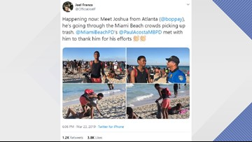 Florida spring breaker helps clean up Miami Beach