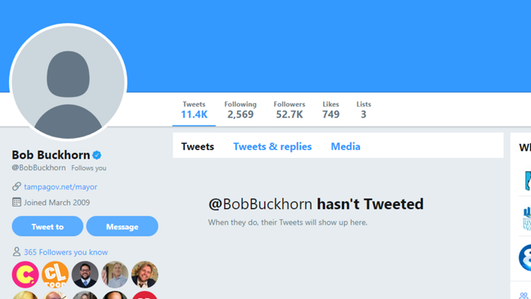 screenshot Bob Buckhorn Tampa mayor Twitter page scrubbed after hack 022119