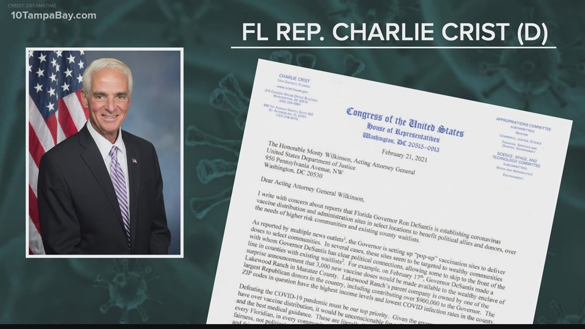 Rep. Charlie Crist calls for federal investigation into Gov. DeSantis regarding vaccine pop-up sites