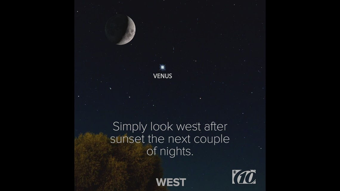 The Moon and Venus will appear together after sunset tonight