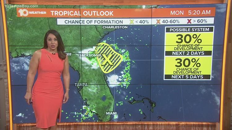 NHC monitoring area of potential development near Florida's east coast
