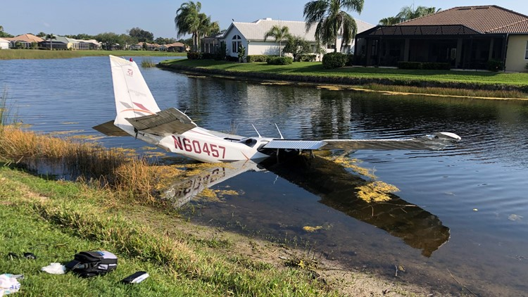 Small plane makes emergency landing, crashes into pond at Venice country club