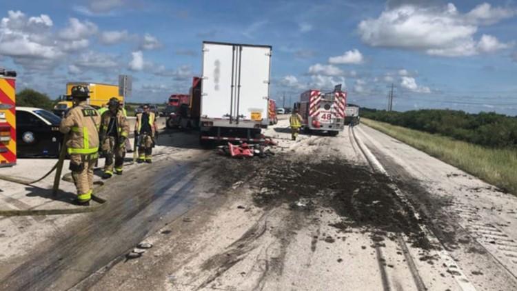 Oh poop! Truck crash dumps cow manure on I-95 in Florida