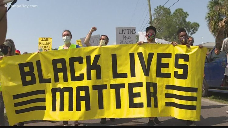 Black Lives Matter demonstrators in Tampa gather to protest new 'anti-riot' law