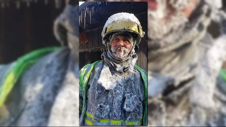 Cameron Fire Chief Mitch Hansen in the freezing weather