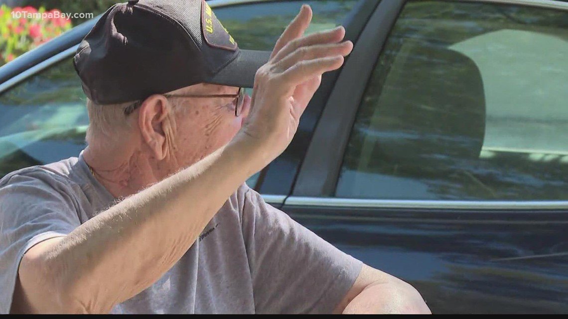 97-year-old World War II veteran surprised with drive-by birthday parade