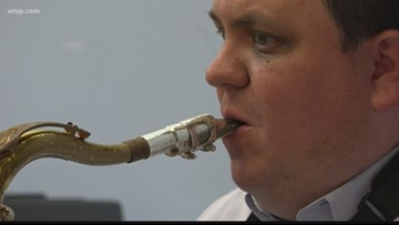 Blind saxophonist teaches the next generation of musicians