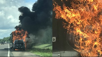 Truck, RV catch fire on I-75 in Tampa