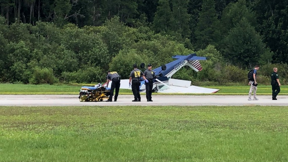 Small plane flips over while trying to land in Pasco County