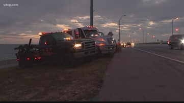 Tampa Bay tow truck drivers gather to remember operator killed on Howard Frankland Bridge