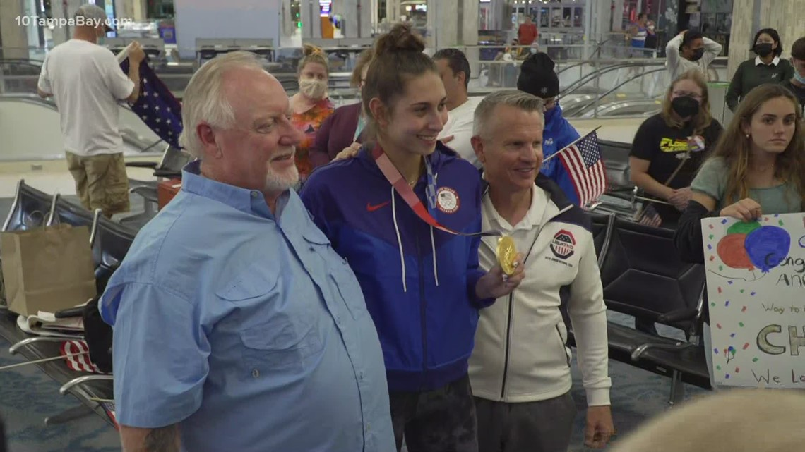 Olympic gold medalist Anastasija Zolotic greeted with cheers, applause