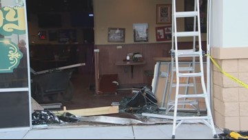 Car removed after crashing into Beef 'O' Brady's