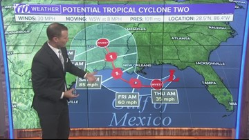 Tracking potential tropical cyclone two in the Gulf of Mexico
