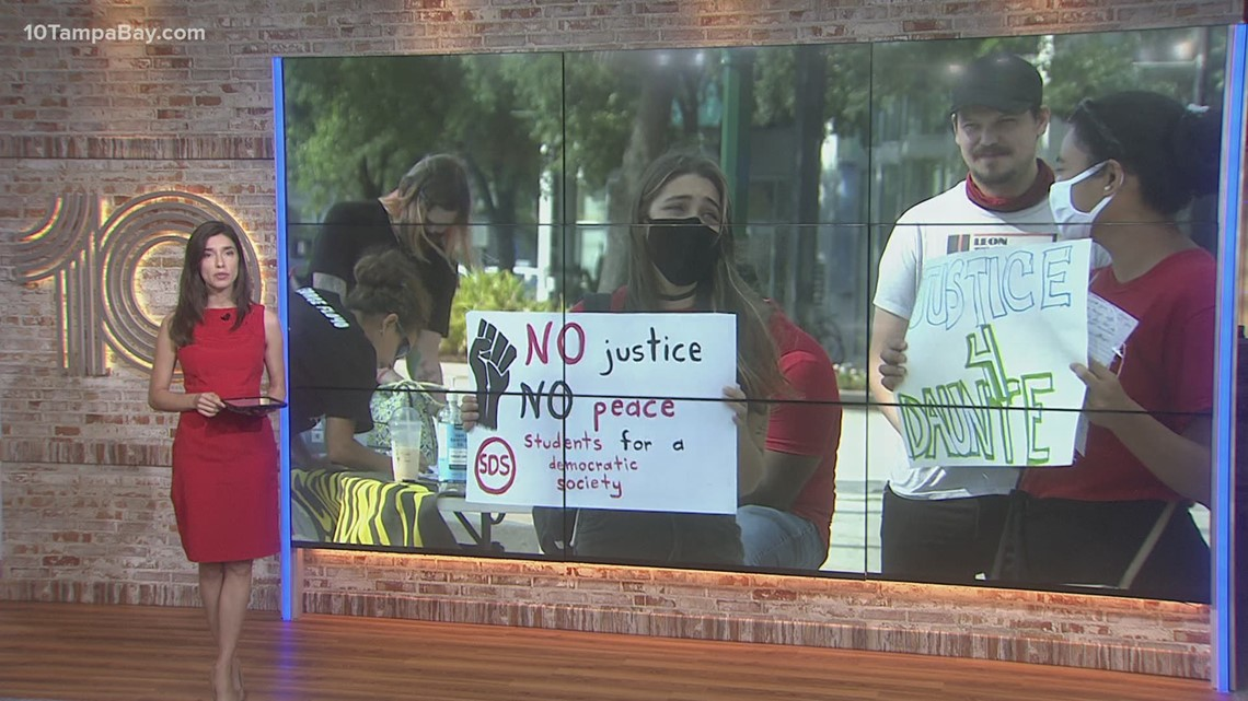 Demonstrators gather in downtown Tampa to demand justice for Daunte Wright