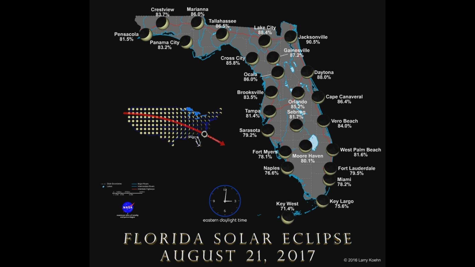 solar eclipse map florida Florida Solar Eclipse Map Aug 21 2017 Wtsp Com