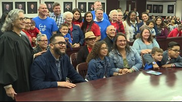 Foster children adopted by loving families on National Adoption Day