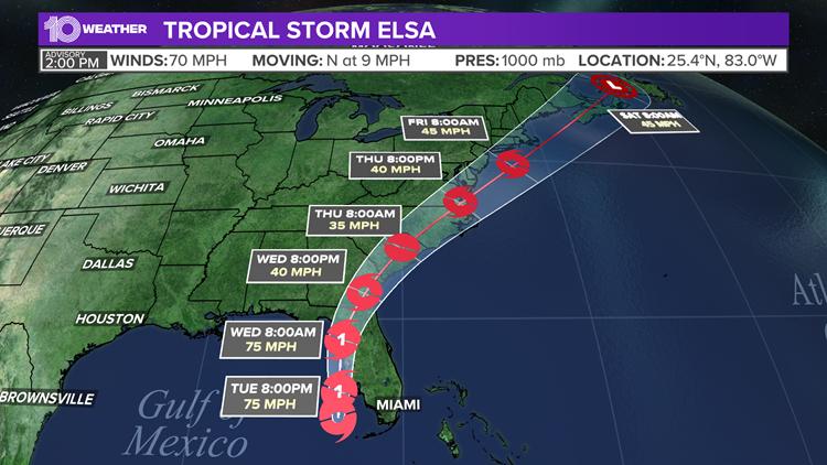 Actualización de las 2 p.m. | La última trayectoria proyectada, modelos, e impacto potencial de la tormenta tropical Elsa en la Primera Costa