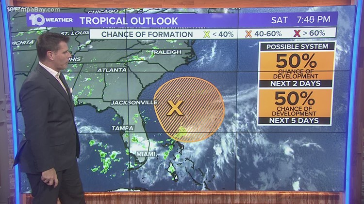 Tropical depression or storm could develop just off Florida's east coast, but NHC drops odds to 50%