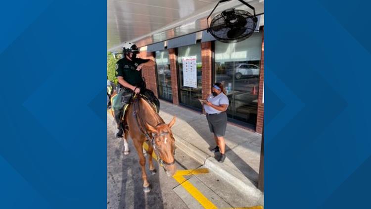Florida sheriff's deputies take horses through Chick-fil-A drive-thru