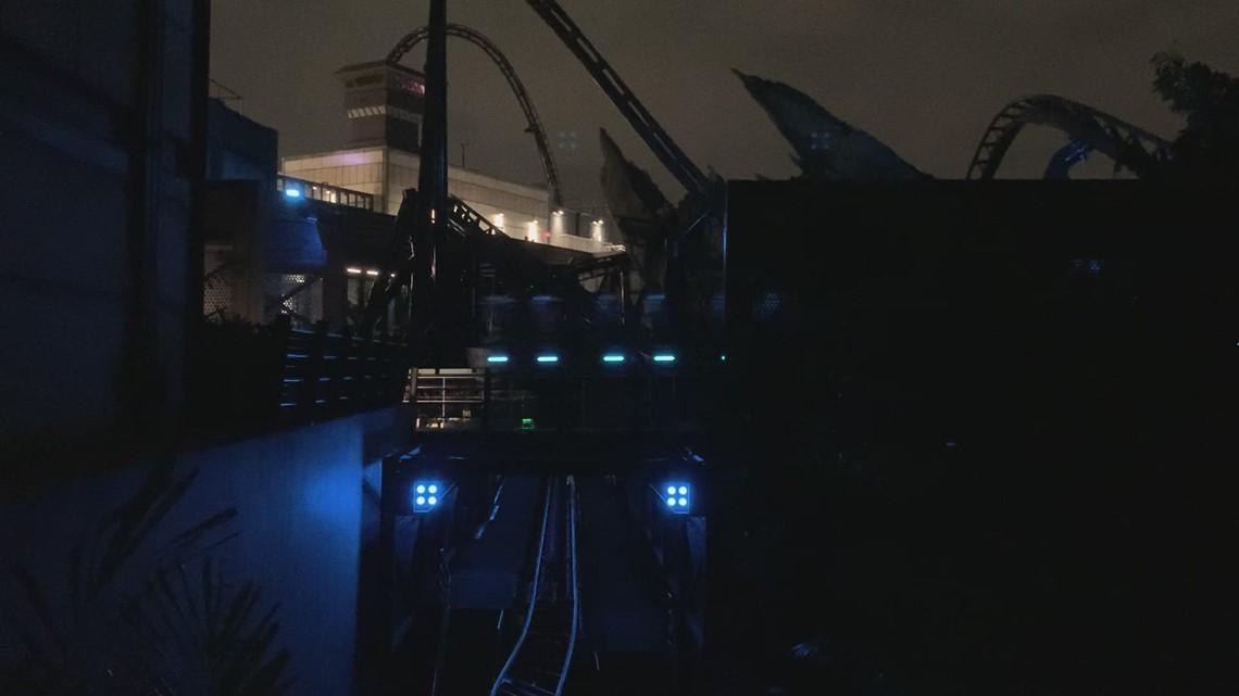 Jurassic World: Velocicoaster testing at night