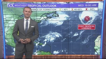 Tracking the Tropics: Lorenzo now a post-tropical system, weak disturbance in the Carribean
