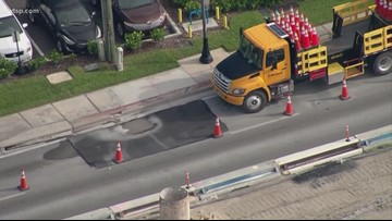 Gandy Boulevard lane will close, so crews can repair a depression