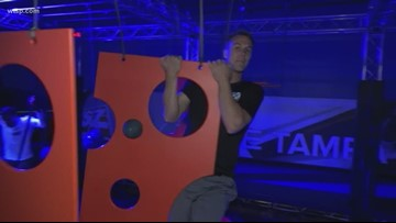 Sky Zone Trampoline Park in Tampa features jumping, lasers and music