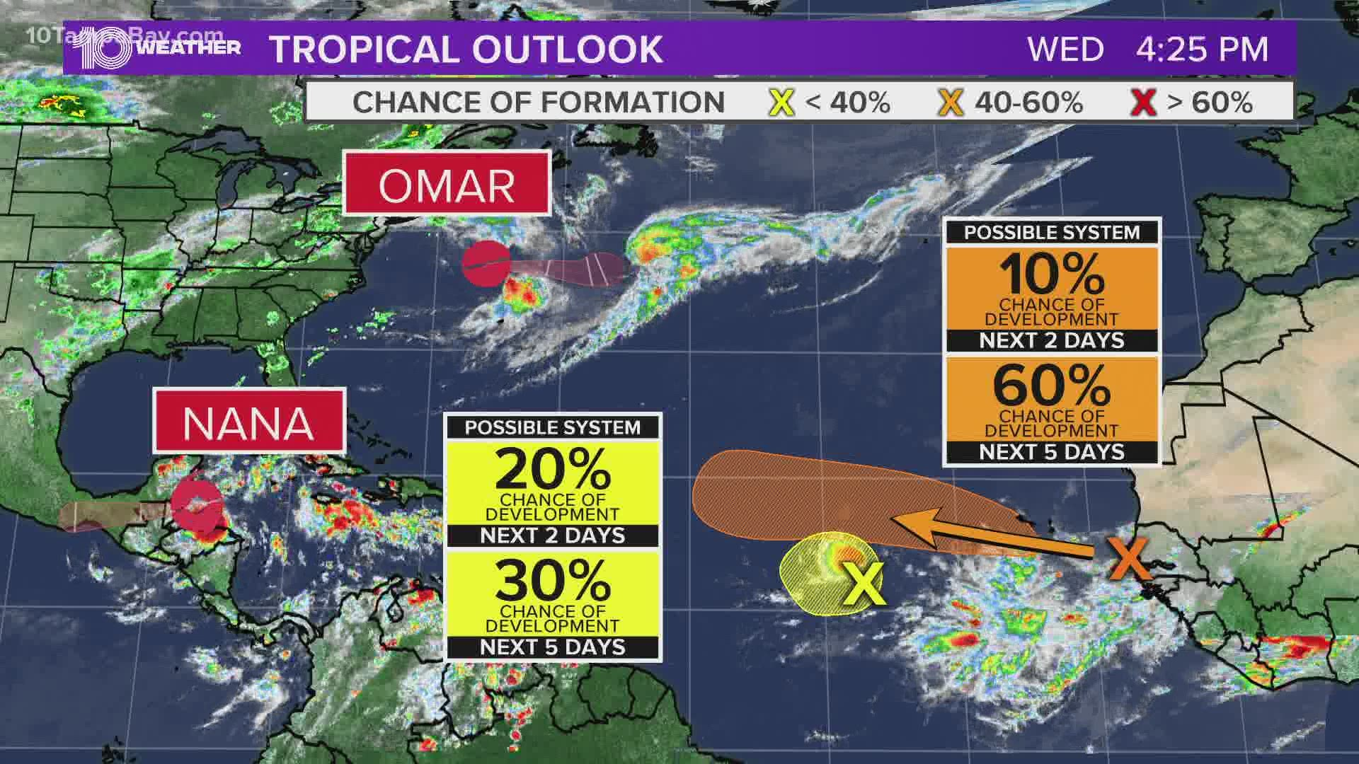 Nhc Tracking 4 Systems In The Tropics Including A Potential Hurricane Wtsp Com