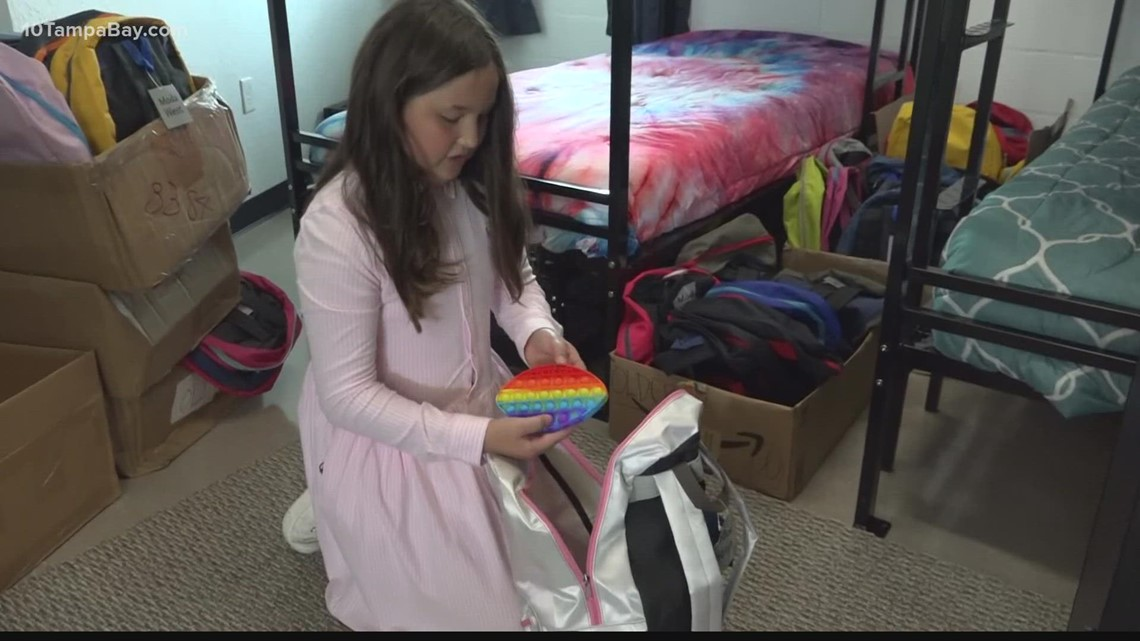 Wesley Chapel child provides gift bags to kids arriving at newly-opened homeless shelter