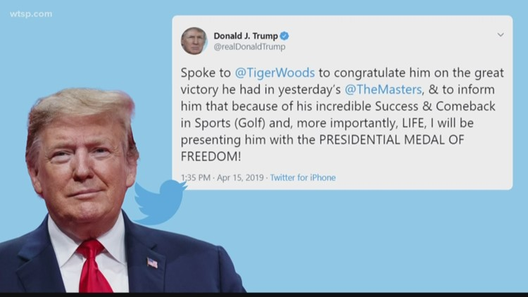 President Trump presents Medal of Freedom to Tiger Woods