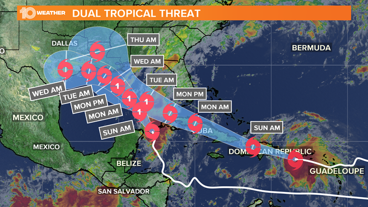 Could 2 hurricanes combine into 1 in the Gulf next week?