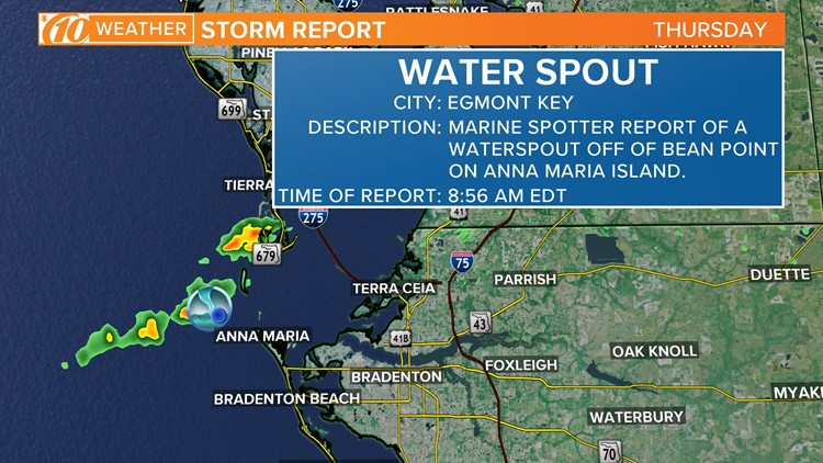 A thin waterspout was spotted around 9 a.m. Thursday off Anna Maria Island.