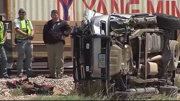 Deputy hit by train - and survives - while trying to reach ailing baby