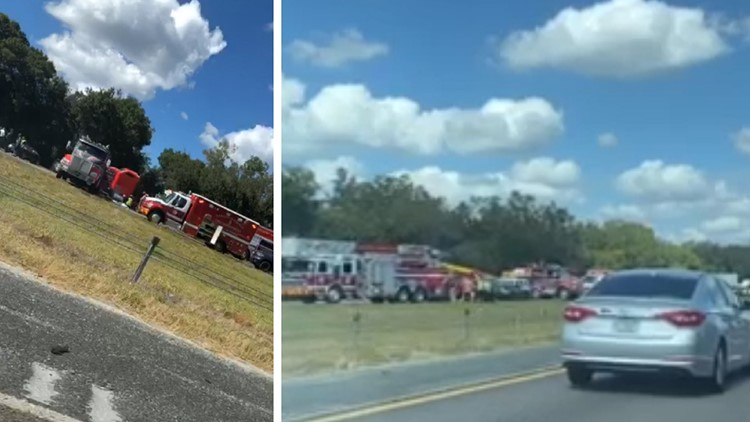 FHP: 7-car crash on I-75 SB leaves man with critical injuries after car wedges underneath semi-truck