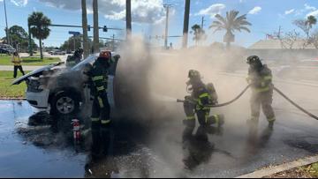 North Port officer and K-9 partner escape car fire