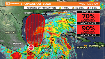 Gulf Coast states could be in for heavy rainfall with possible tropical disturbance