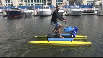 Water bikes are a great way to explore the Hillsborough River in downtown Tampa