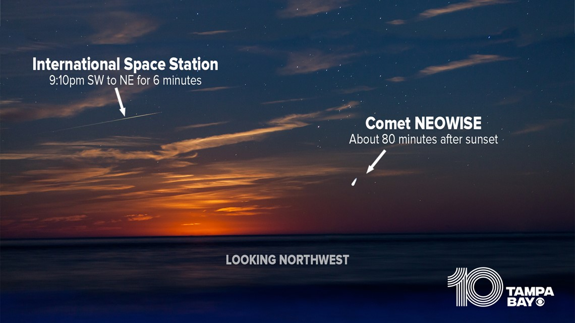 How to see Comet NEOWISE and the International Space Station in tonight's sky