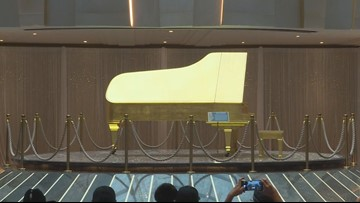 Elvis Presley's gold leaf piano unveiled at Seminole Hard Rock Hotel and Casino