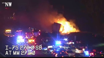 Deadly semi crash sends flames into the air on I-75